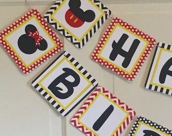MICKEY AND MINNIE Inspired Party Red Polkadot Happy Birthday Banner - Party Packs Available