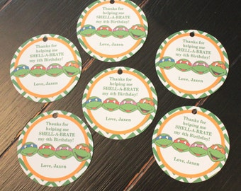 TMNT INSPIRED Teenage Mutant Ninja Turtle Happy Birthday Party Favor Tags or Stickers 12 {One Dozen} - Party Packs Available