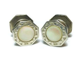 Art Deco cufflinks, 1920's mother of pearl and sterling silver or plated snap link, mixed set Baer and Wilde Kum-A-Part, antique Edwardian