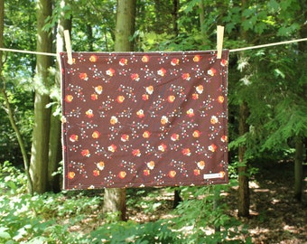 Medium Dish Drying Mat - Brown Flower Print - Flea Market Fancy - by The Quilted Tulip - Kitchen