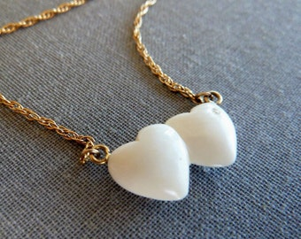 Diamond Jade Heart necklace Carved Chinese White Jade hearts Gold Necklace Fine Jewelry Gifts for Her