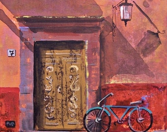 "Original painting of weathered door and wall and bicycle in San Miguel de Allende acrylic art on canvas board 11 ""x 14"""