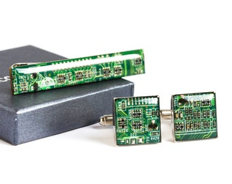 Circuit board Cuff Links and Tie Clip - Computer Accessories Set - Geeky gift for husband - palladium plated, resin