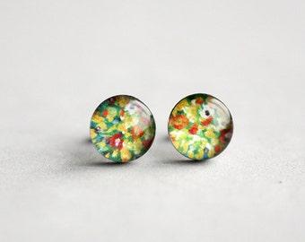 Flower earrings, Surgical steel stud, Klimt earring studs, Fine art stud earrings, floral earrings, womens earrings, romantic earrings