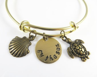 Expandable hand stamped - by the sea - bracelet