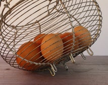French Vintage Wire Egg Collecting Basket...