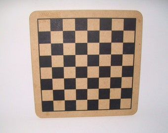 Vintage Wooden Game Board Checkers Backgammon Chess Two Sided