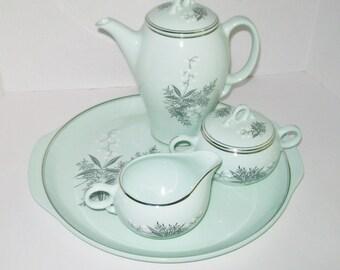 Vintage Lady Empire Dinnerware Permacal Coffee Pot Set Cake Plate Prilaem Pattern Mint Green