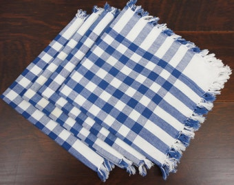 Set of Four Blue and White Checked Napkins   Knotted Fringe
