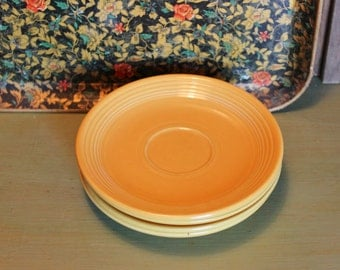Fiesta Ware Plates Yellow Retro Dishes Saucers Dining Made in USA Vintage 1940s 40s (L)