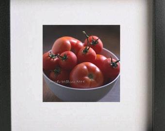 Photographic Print,Tomatos,Food,Bowl of Tomato's,Kitchen Art,Square Print,Wall Art,Fine Art print,