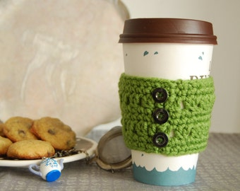 Cup Cozy Crocheted in Green with Buttons, Coffee Cozies Crocheted, Green Crochet Cozy, Coffee Cup Cozies, Crochet Cup Sleeve, Cozy for Cup