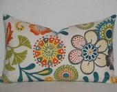 Decorative Pillow Cover - 14 x 23 - Floral in Teal Green Orange Grey Yellow - Print BOTH Sides - Throw Pillow - Toss Pillow - Suzani Pillow