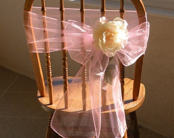 ORGANZA CHAIR SASHES , Pink With Peony Flowers, Wedding Decorations, Reception Chair Bows, Set of 50 , Custom Order
