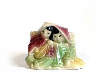Shawnee Pottery Asian Couple Dusty Rose Mint Yellow Planter Kitchen Herbs Succulents Oriental Indoor Garden Serenade
