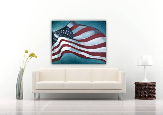 X large wall decor : Extra very large wall art american flag veteran va us