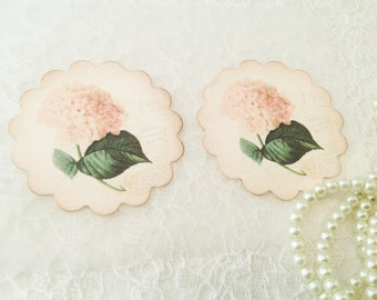 Floral Stickers-Hydrangea Sticker Favor-Floral Envelope Seal and Sticker-Pink Flower-Set of 12