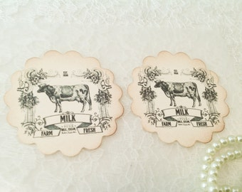 Farm Label Stickers Seals-Cow Labels Stickers and Primitive Gifts-Set of 12