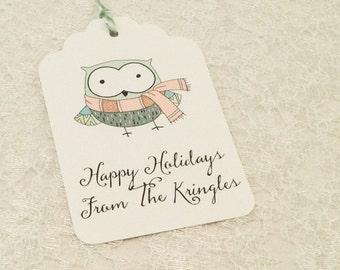 Holiday Gift Tags-Owl christmas tags-Christmas gift tags and labels-set of 12