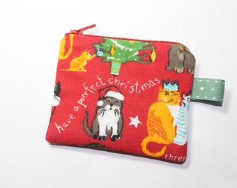 Christmas purse, cat purse, change purse, gift for cat lover