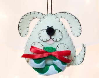 Felt Dog Ornament - White