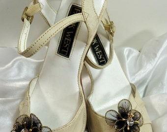 Black Gold Shoe Clips, Flower Shoe Clips, Tulle Shoe Clips, REX16-401