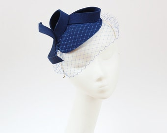 Bridal Hair Accessories,Felt Mini Hat,Fascinator,Royal Blue