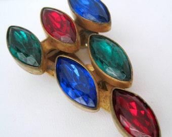 Multicolor Rhinestone Dress Clip - Vintage Art Deco - 40's Collectible
