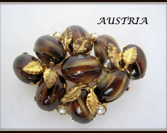 Brown Gold Fluss Brooch -  Signed Austria -  Art Glass Cabochon Pin