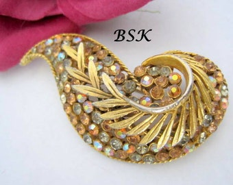 BSK Brooch Topaz Rhinestone Leaf Pin