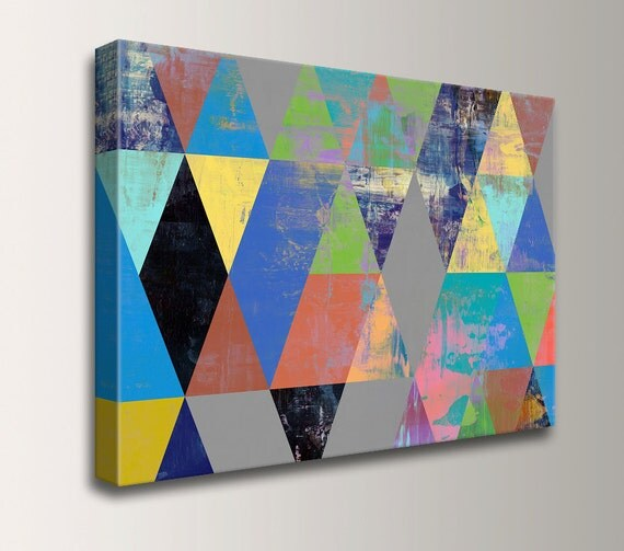 "Modern Art, Canvas Print, Geometric Wall Art,  Mid Century Modern, Living Room Decor - Wall Art, Colorful Triangle Print - ""Fresco"""