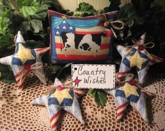 Cow Print  Flag Shelf Sitters ,  Star Bowl Fillers , Tucks , Patriotic Wreath Garland Making, Americana