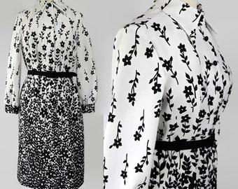 70s Plus Size Dress Mod Floral Abstract Print Border Print