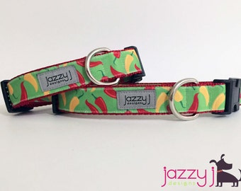 Cinco De Mayo Peppers Dog Collar