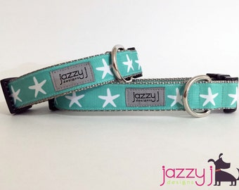 Turquoise and White Starfish Beach Summer Dog Collar
