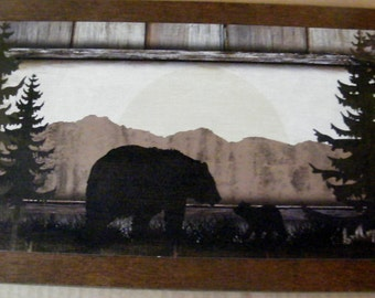Country Wood PictureShadow  Black Bear Cub Lodge Lake Decor Plaque Sign