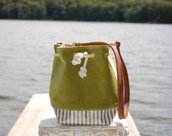 Mini Velvet Bucket Bag in Apple Green