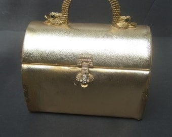 Gold Metallic Serpant Clasp Evening Bag c 1970