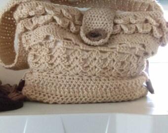 Hand crocheted shoulder bag