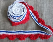 4 Yds Fringe Trim Loop Fringe Cotton Red White and Blue Patriotic 4th of July