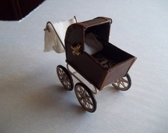 1:12 Scale Dollhouse Baby Carriage OOAK