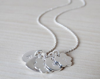 Tiny Silver Charm Necklace With Initial - Sterling Silver