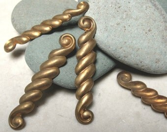 "Vintage 1 5/8"" Rope Scroll Brass Findings.  1 dz."
