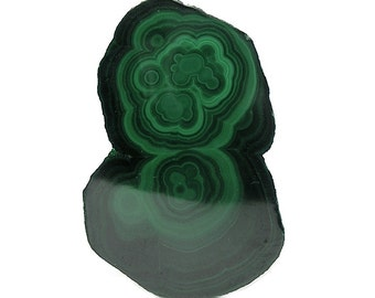 Dark Green Malachite Stalactite Stone Slice Semiprecious Geo Gemstone Polished Green Rock Concentric Bands Wear it or Display it African Gem