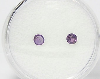 Purple Amethyst Faceted Semiprecious Gemstone Pair, Polished Semi Precious Tiny Gems,  Unset Loose Jewels, DIY Jewelry Making 3 mm rounds,