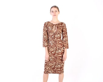 SALE - 90s Does 70s Psychedelic Print Keyhole Cleavage Long Sleeve Midi Dress