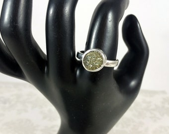 Natural Golden Pyrite Druzy and Sterling Silver Cocktail Statement Ring