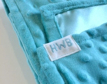 Baby Minky and Satin Turquoise Blanket Soft Small Monogrammed