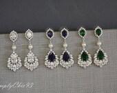 Emerald ,Sapphire Blue, Clear Drop Earrings, Wedding Jewelry, Bridesmaids Gifts, Vintage Bridal Earrings, Pearl Cubic Zirconia Earrings