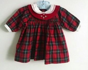vintage red plaid baby Christmas dress with smocking and embroidered collar, Friedknit Creations, 6 months
